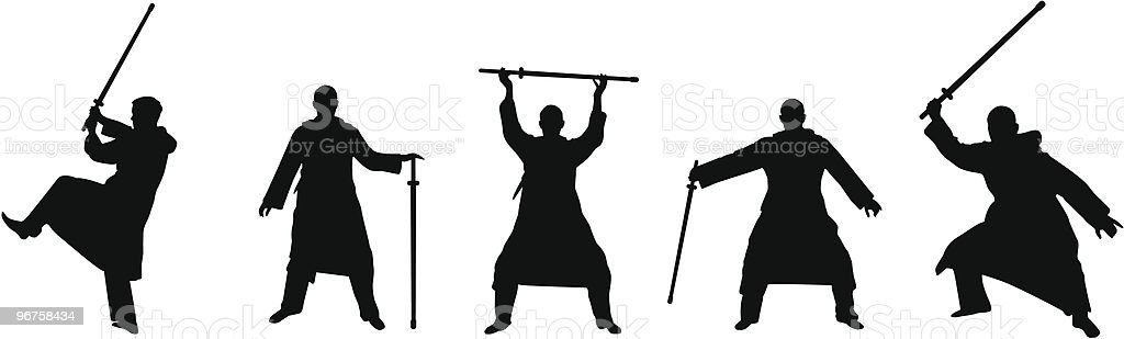 kendo like silhouettes royalty-free stock vector art