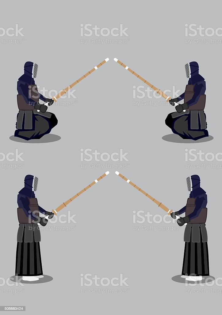 Kendo Martial Arts Preparation Pose vector art illustration
