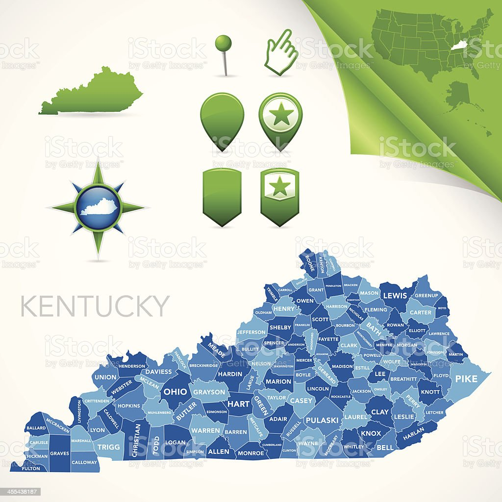 Kentucky County Map royalty-free stock vector art