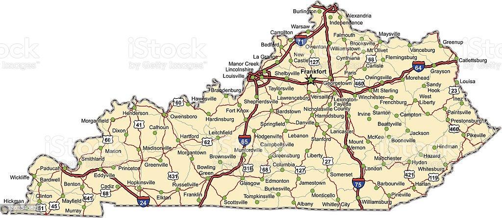 Kentucky Highway Map (vector) stock photo