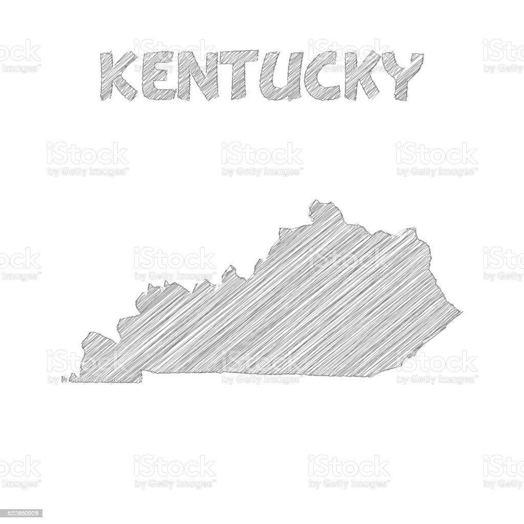 Kentucky Map Hand Drawn On White Background Stock Vector Art - Map of kentucky usa
