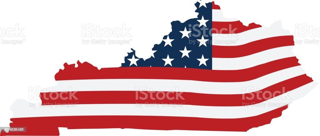 Kentucky patriotic map illustration vector art illustration