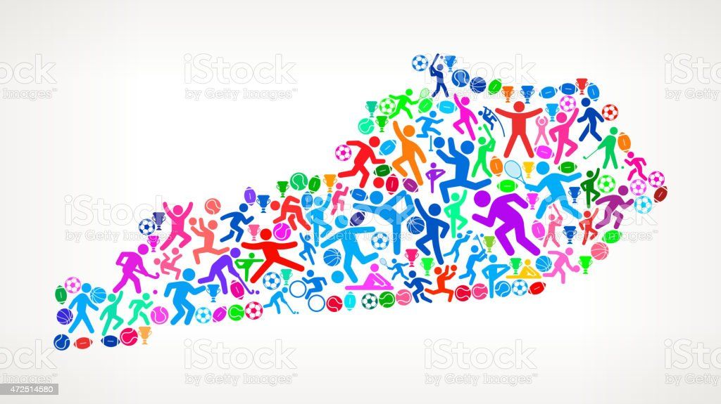 Kentucky State Fitness Sports and Exercise pattern vector backgr vector art illustration