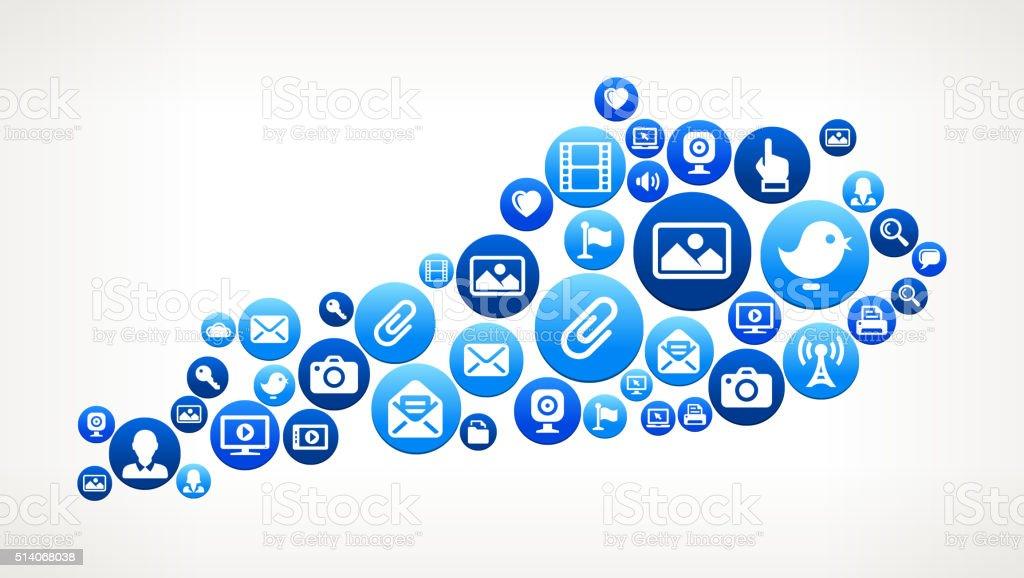 Kentucky Technology Internet and Media Blue Button Pattern vector art illustration