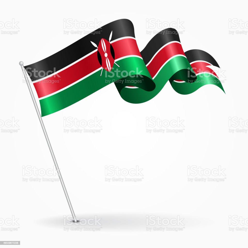Kenyan Pin Wavy Flag Vector Illustration stock vector art