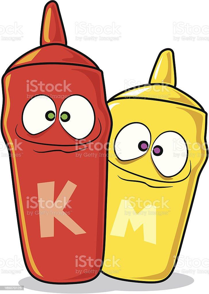 Ketchup and Mustard Cartoons royalty-free stock vector art