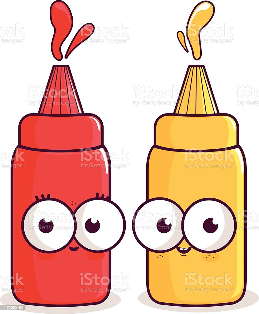 Ketchup and mustard characters. vector art illustration