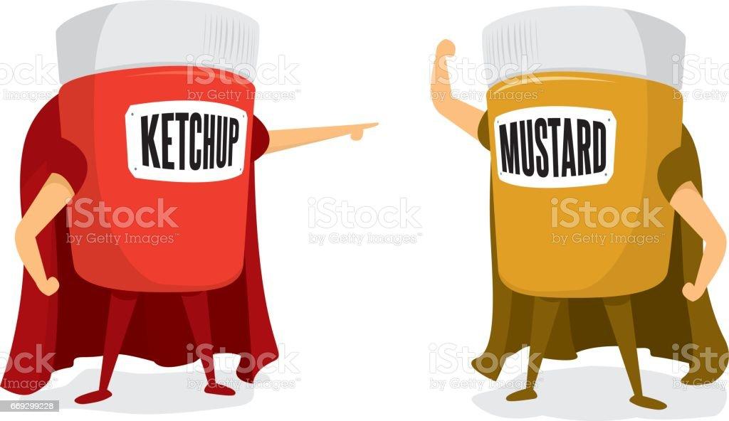 Ketchup and mustard head to head vector art illustration