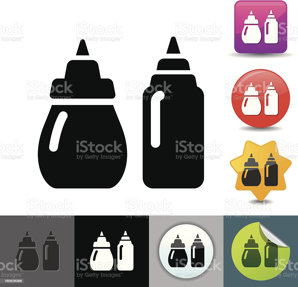 Ketchup and mustard icon | solicosi series vector art illustration