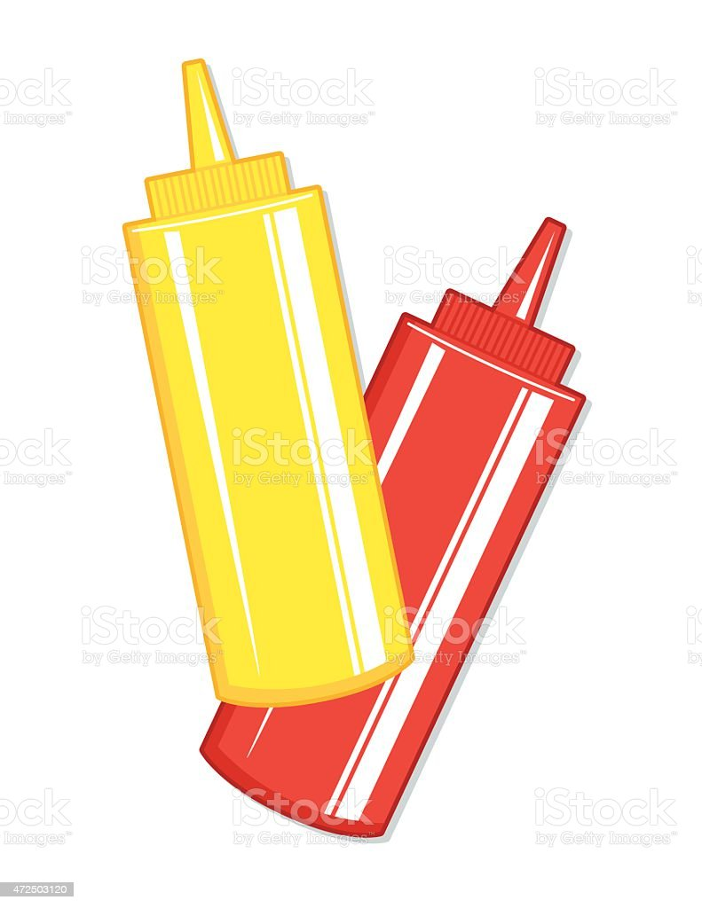 Ketchup And Mustard Squeeze Bottles vector art illustration
