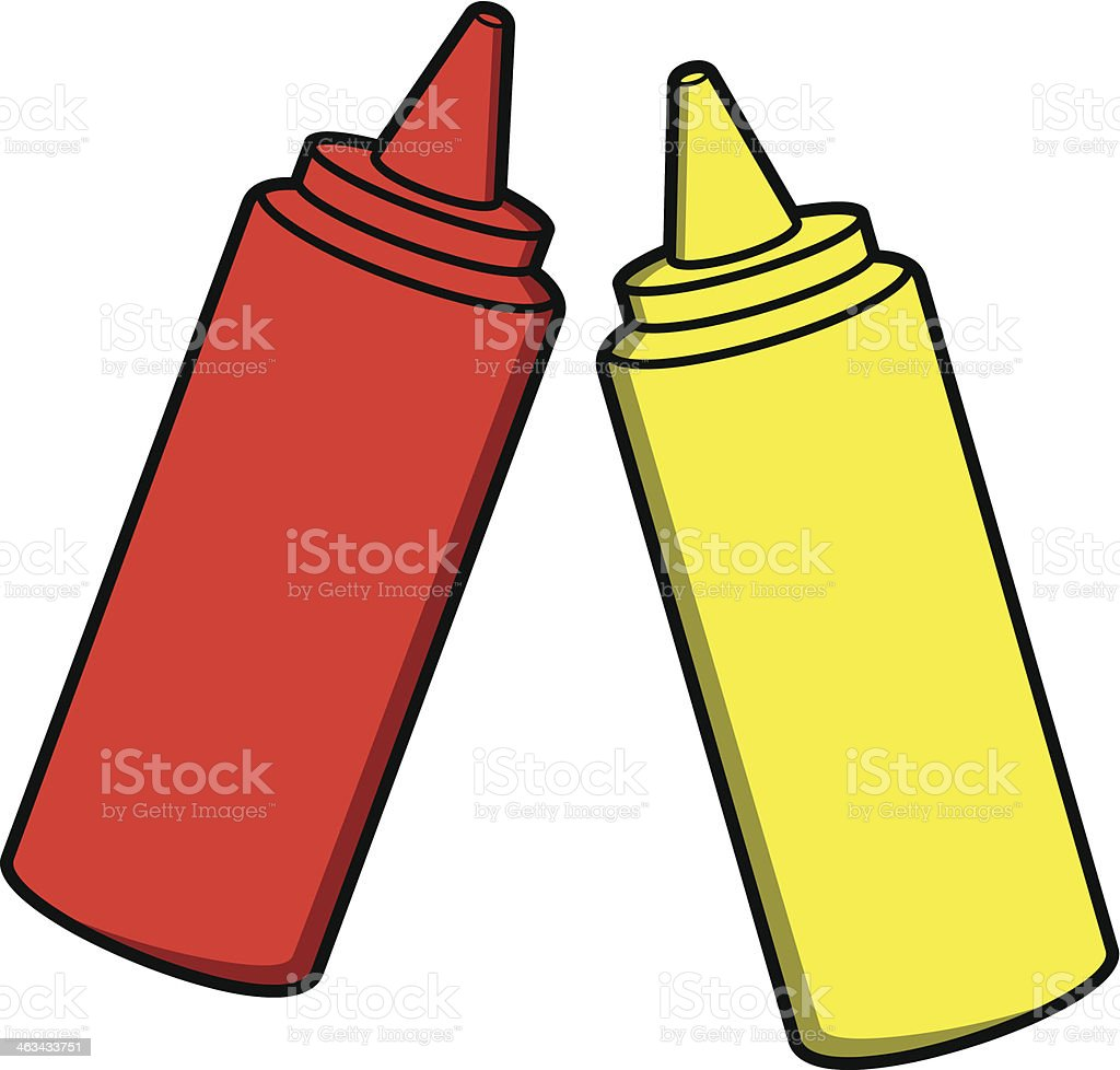 Ketchup and Mustard vector art illustration