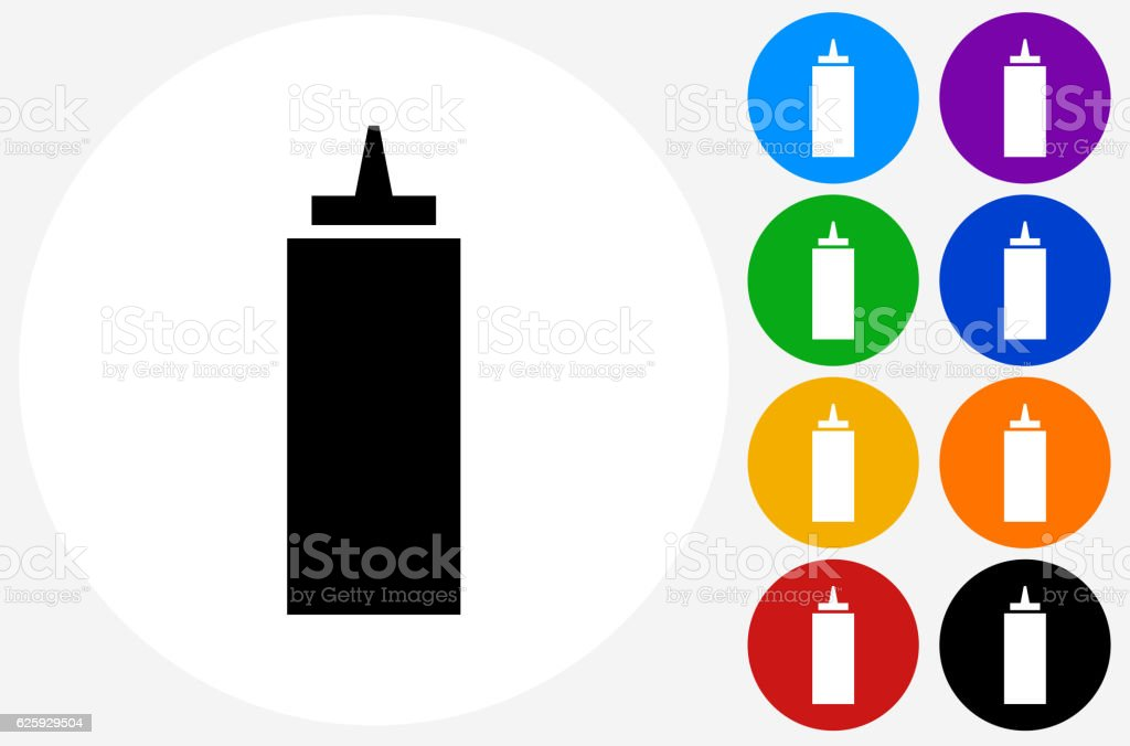 Ketchup Bottle Icon on Flat Color Circle Buttons vector art illustration