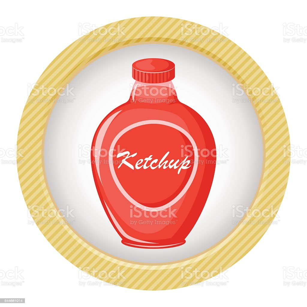 Ketchup colorful icon vector art illustration