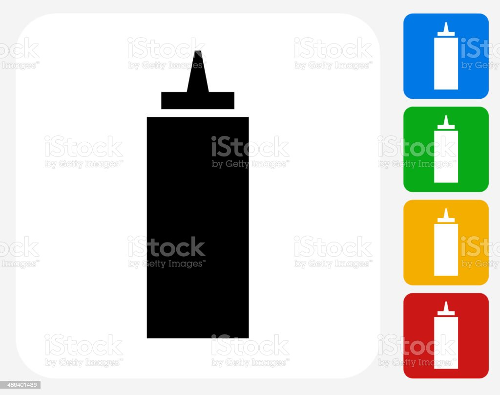 Ketchup Icon Flat Graphic Design vector art illustration