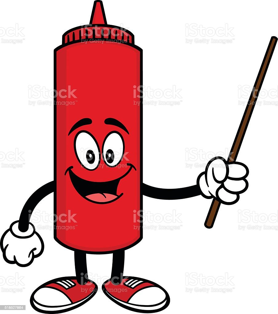Ketchup with a Pointer vector art illustration