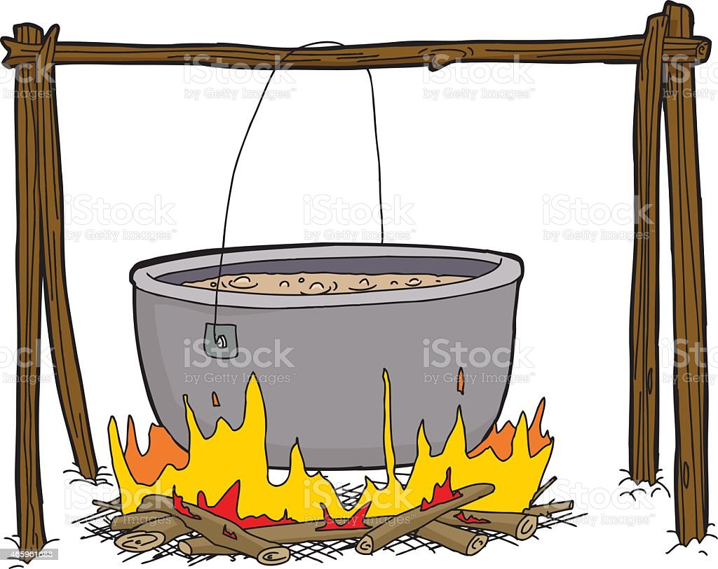 Kettle of Soup in Campfire vector art illustration