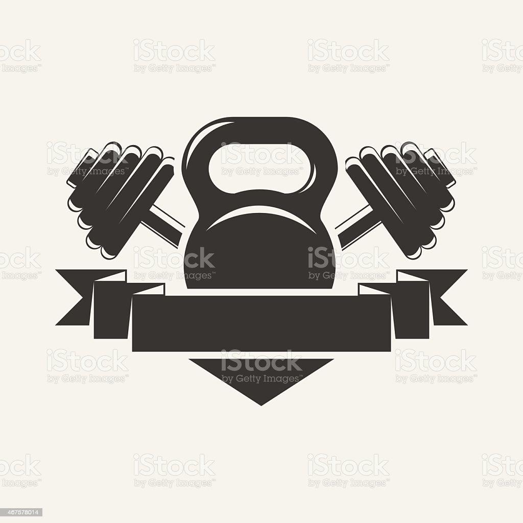 kettlebell and dumbbell with baner logo vector art illustration