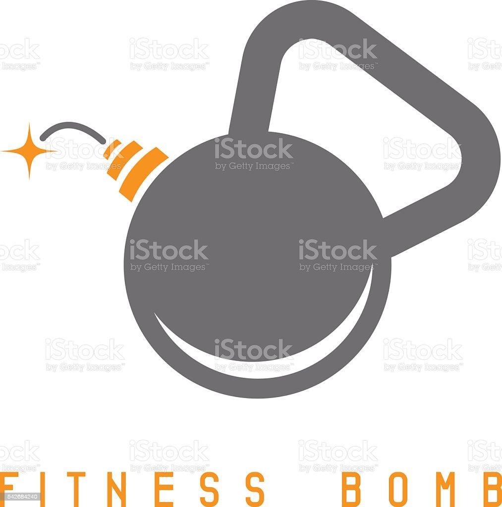 kettlebell bomb fitness concept vector design template vector art illustration