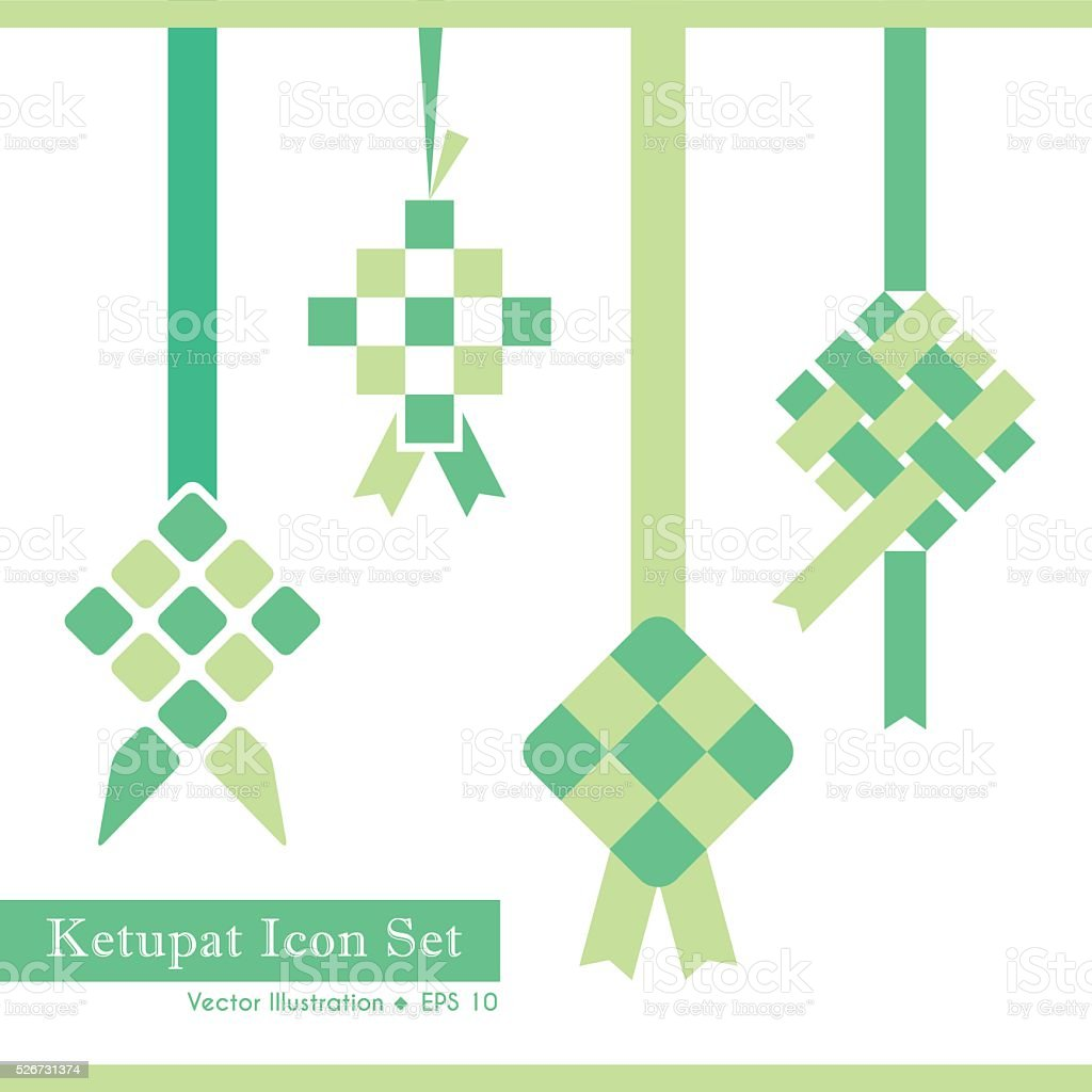 Ketupat icon set vector art illustration