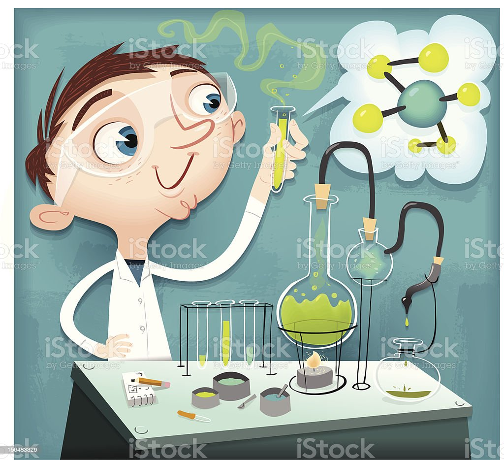 Kevin's Chemistry Homework vector art illustration