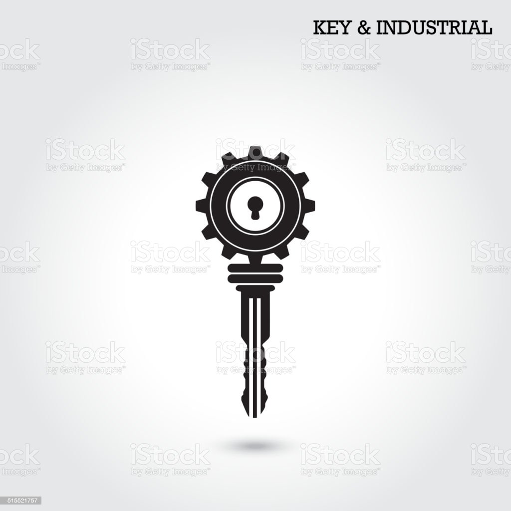 Key and industry sign. vector art illustration