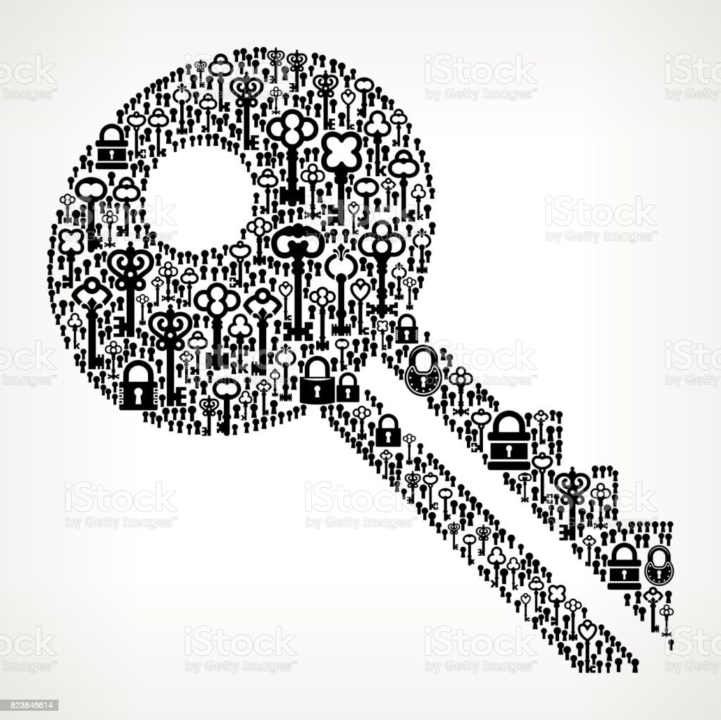 Key Antique Keys Black and White Vector Pattern vector art illustration