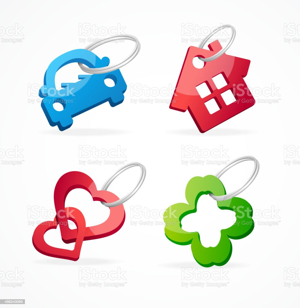Key chain collection and rings vector art illustration