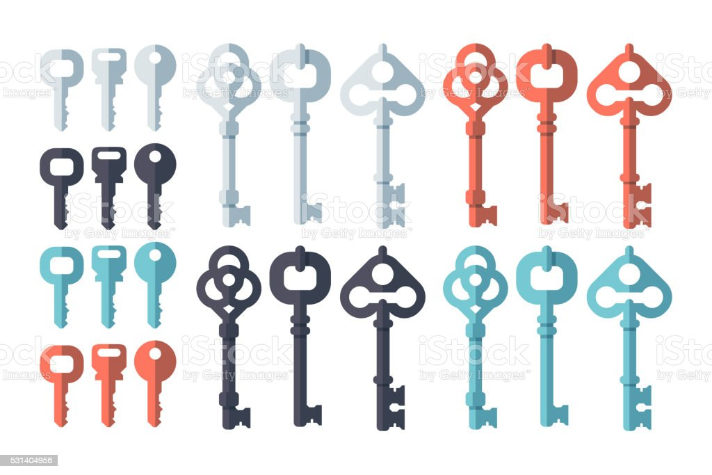 Key Flat Design Set vector art illustration