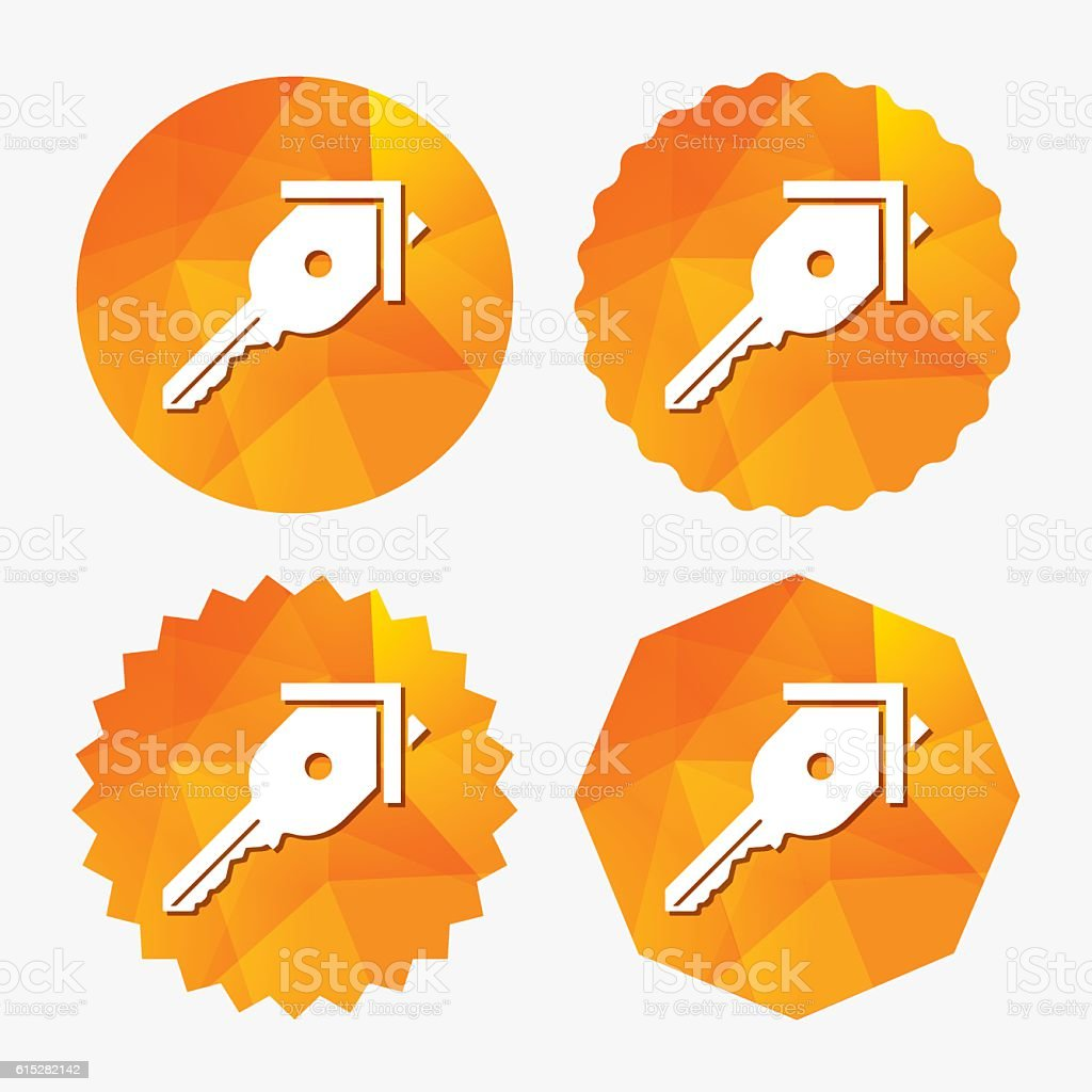 Key from the house sign icon. Unlock tool. vector art illustration
