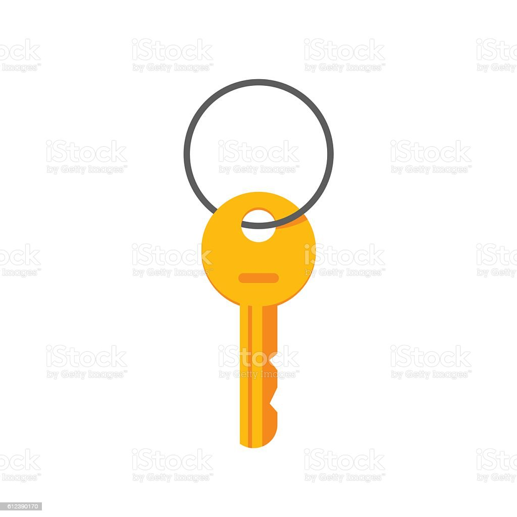 Key hanging on ring vector illustration isolated vector art illustration