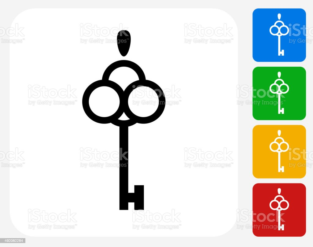 Key Icon Flat Graphic Design vector art illustration