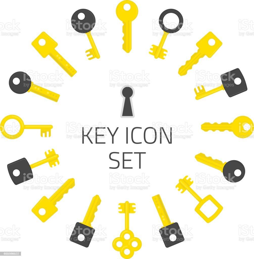 Key icon set. vector art illustration