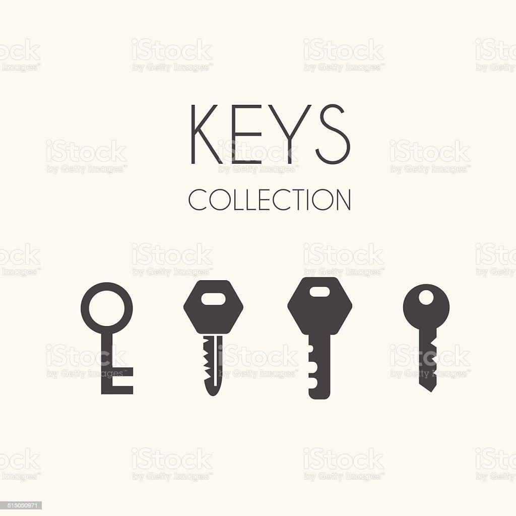 Key icons, flat style vector art illustration