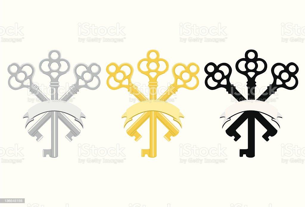 Key insignia vector art illustration