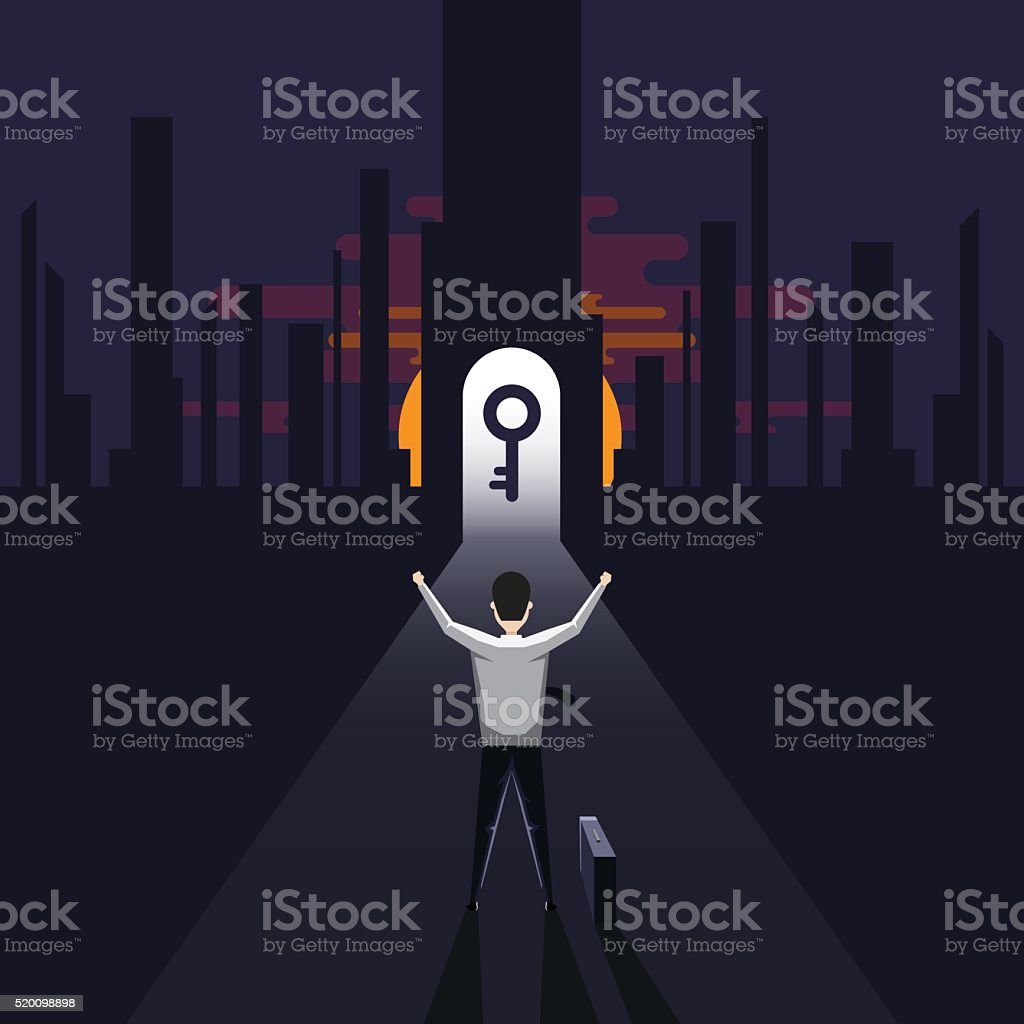 key of success way vector art illustration