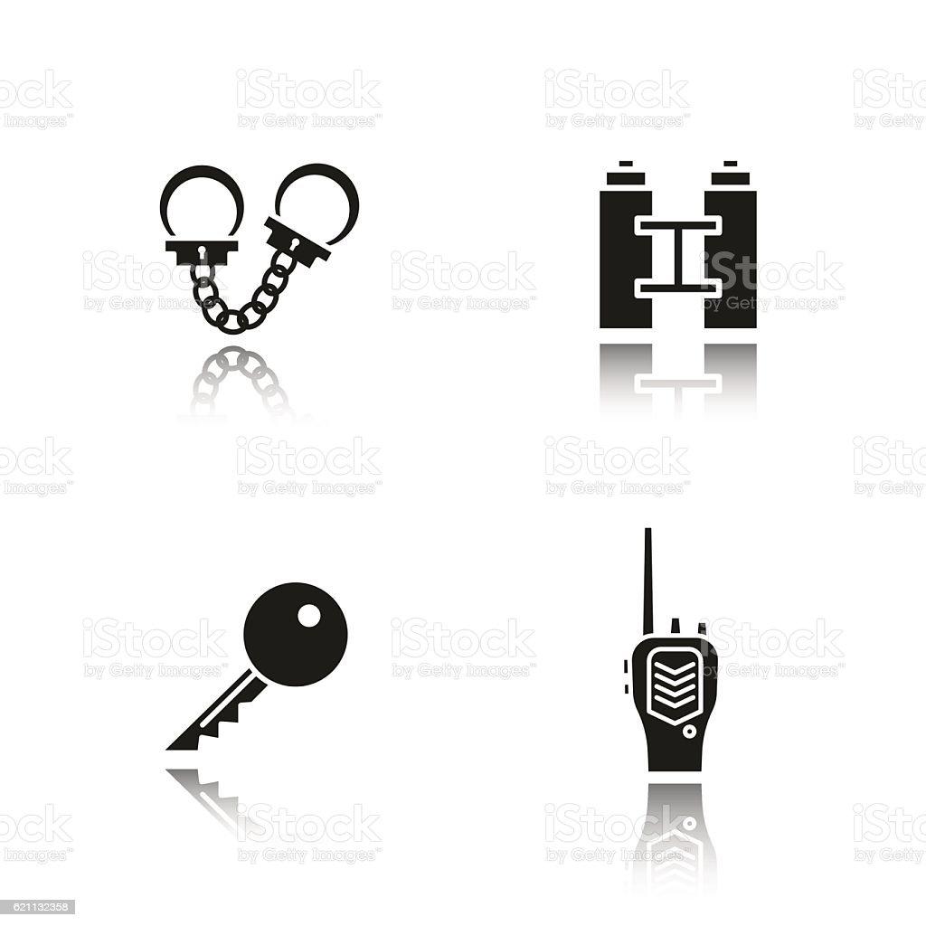 Key, radio, handcuff, binoculars symbol. vector art illustration