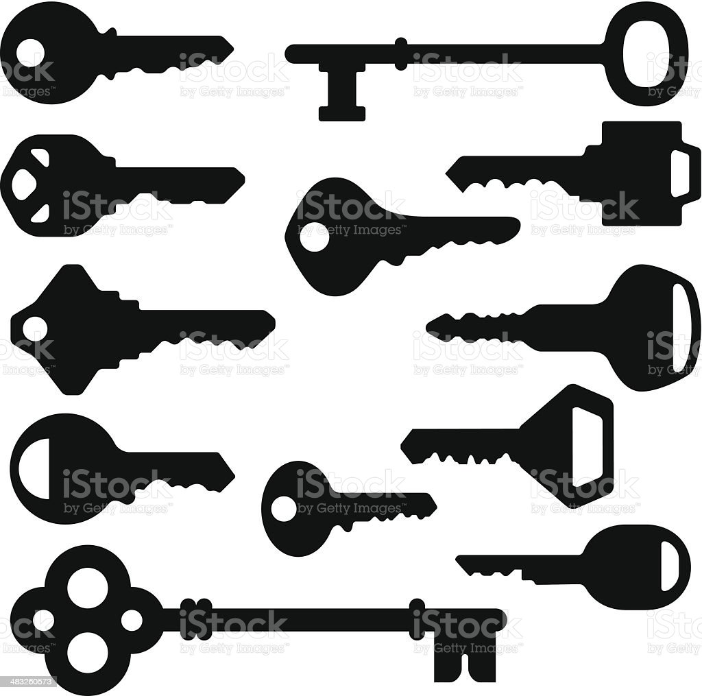 Key Silhouettes vector art illustration