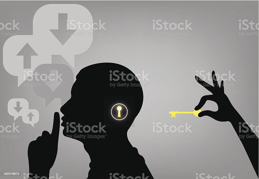 key the man shhhh vector art illustration