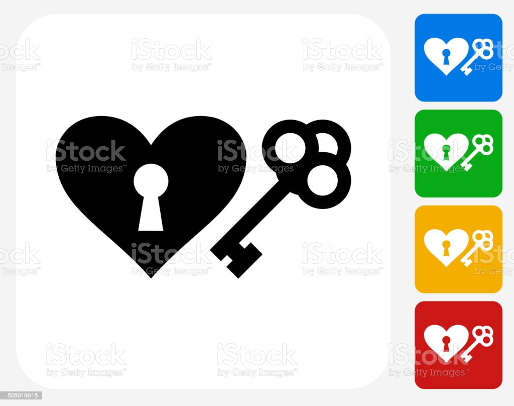 Key to the Heart Icon Flat Graphic Design vector art illustration