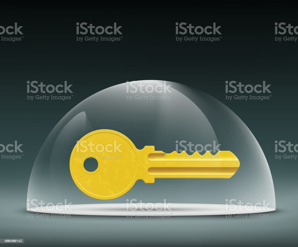 key to the lock under a glass dome vector art illustration