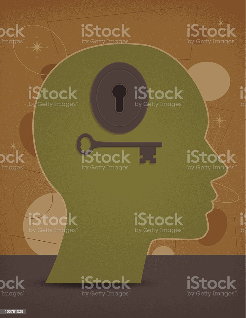 Key to the Mind vector art illustration