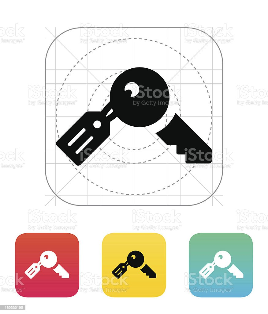 Key with label icon. royalty-free stock vector art