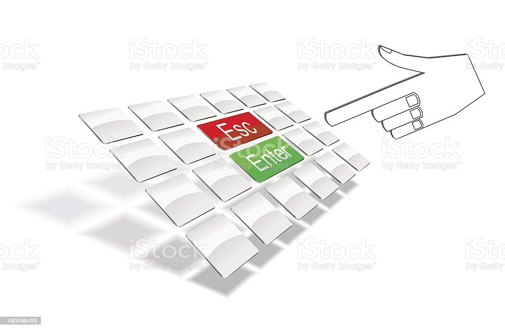 Keyboard and wrist. royalty-free stock vector art