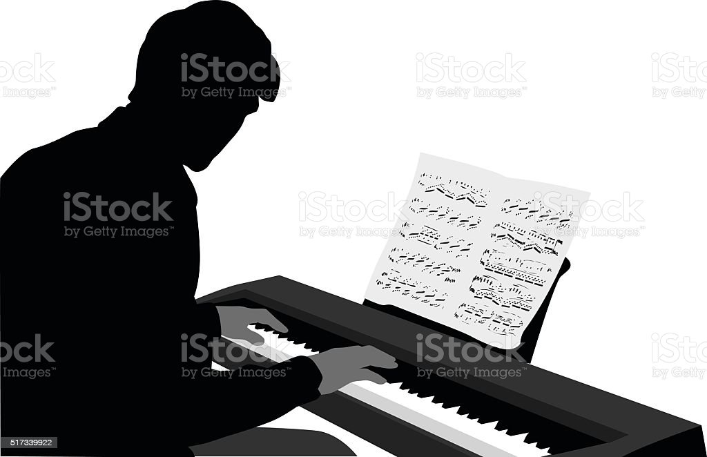 Keyboard Music Score vector art illustration