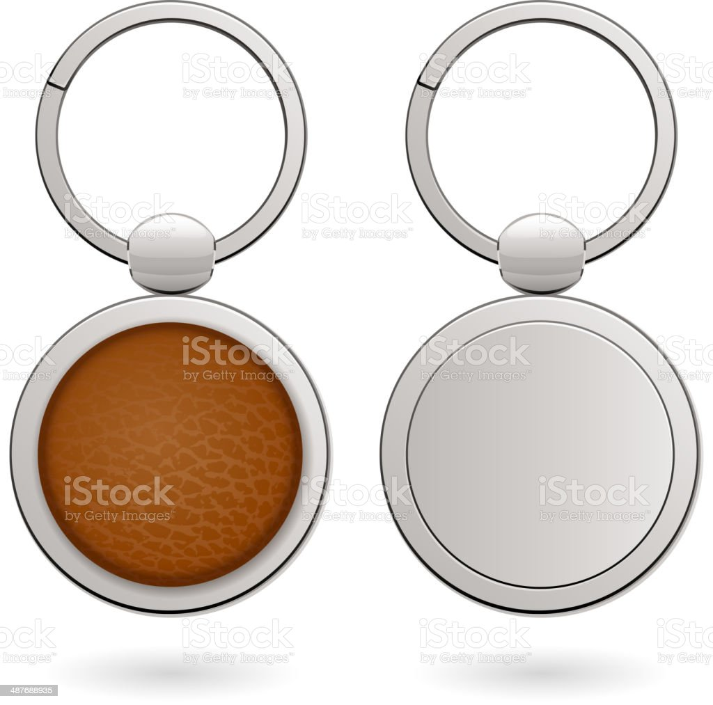 Keychains with empty round trinkets - leather and metallic. vector art illustration