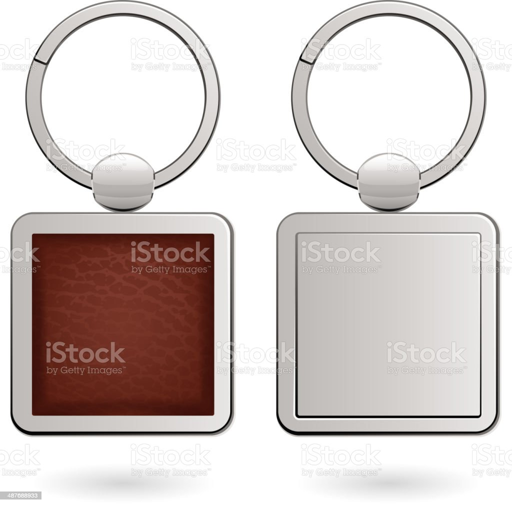 Keychains with empty square trinkets - leather and metallic. vector art illustration