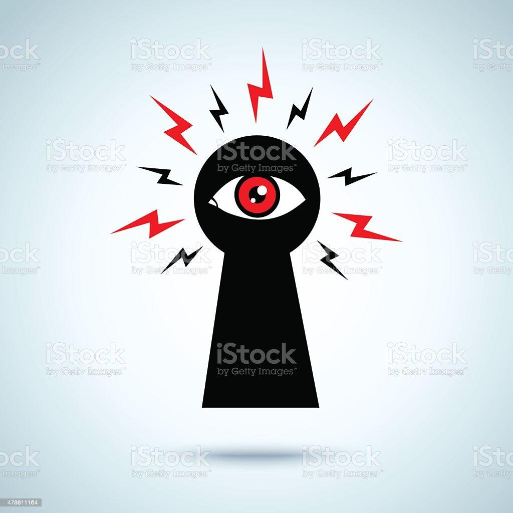 keyhole and eye vector art illustration