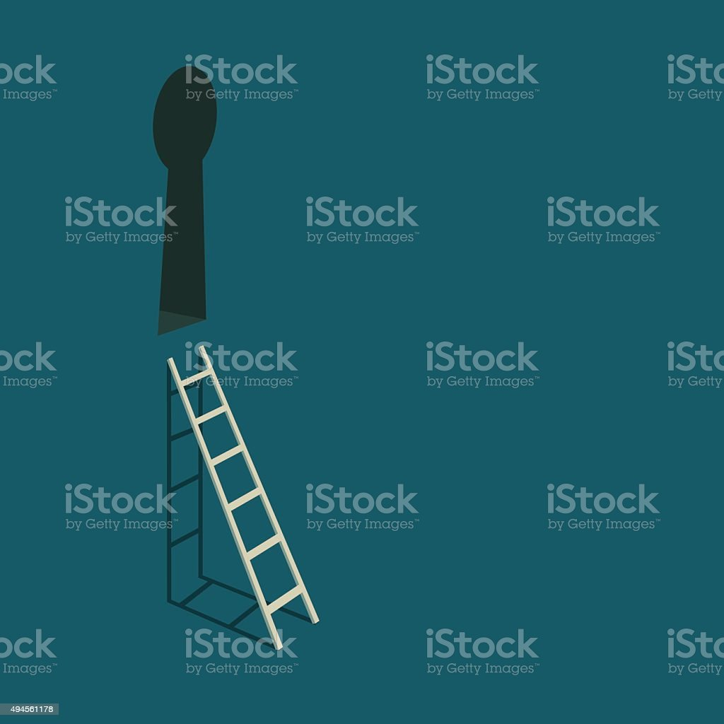 Keyhole and stairs. vector art illustration