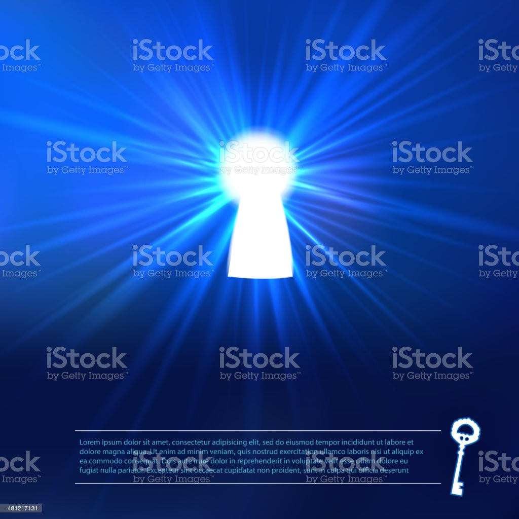 Keyhole light at blue background vector art illustration