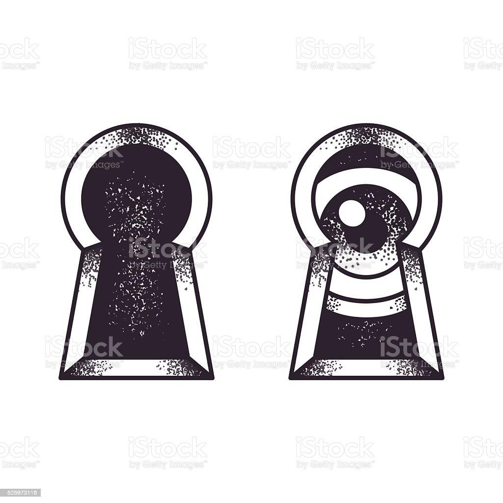 Keyhole with eye illustration vector art illustration